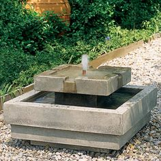 Campania International Escala Water Outdoor Fountain - The modern design of the tiered Escala Fountain features clean, geometric lines perfect for ornamental and Japanese gardens. The water flows smoot...