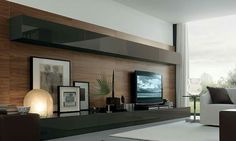 Exquisite living room wall unit system with smart features Exquisites Wohnwand-System mit intelligenten Funktionen Living Room Wall Units, Cozy Living Rooms, Interior Design Living Room, Home And Living, Living Room Designs, Living Room Decor, Modern Living, Tv Wall Units, Feature Wall Living Room