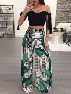 Shop Leaf Print Tie Waist Striped Wide Leg Pants – Discover sexy women fashion at Boutiquefeel Source by clothes cute Trend Fashion, Fashion Mode, Love Fashion, Womens Fashion, Style Fashion, Fashion Brands, Sexy Women, Casual Outfits, Cute Outfits