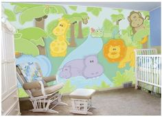 Look at this cute DIY safari wall mural!