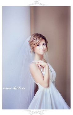 свадебная прическа с фатой фото