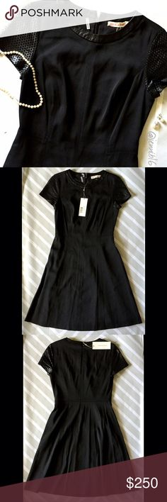 NWT Rebecca Taylor cocktail dress ⭐This. Is. The. Dress. Omg so so stunning. Black faux leather perforated sleeves and trim around collar. Zipper and hook and eye closure. Flattering darts down bodice. Fit and flare little black dress with an edge.  ⭐️Rebecca Taylor. NWT. Pristine condition. Size 0.  ✅ REASONABLE offers encouraged!  ❌ No trades, lowball offers will be ignored  ✅ Measurements available by request  Bundle discounts available!  Rebecca Taylor Dresses