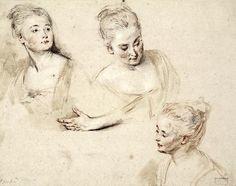 Antoine Watteau was een meester in het tekenen met krijt, zoals ook dit mooie studieblad met vrouwenhoofden en een linkerhand uit 1718 toont..