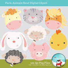 Items similar to Farm Animals Head Digital Clipart on Etsy Barn Animals, Cute Animals, Reading Fair, Cute Animal Drawings, Pikachu, Hello Kitty, Clip Art, Dolls, Handmade Gifts