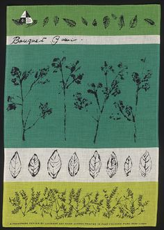 lucienne day, 1960, bouquet garni linen towel