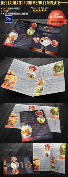 Bi-fold Restaurant Food Menu Template - Food Menus Print Templates