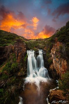 Nature, Landscape waterfall mountainscape