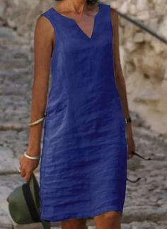 Daytime Dresses, Casual Dresses, Fashion Dresses, Summer Dress Outfits, Day Dresses, Simple Kurti Designs, Frack, Royal Blue Dresses, Mode Outfits