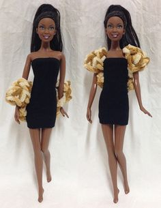 Barbie Doll Crochet Fur Coat - Crochet Barbie Coat with Furry Cotton Yarn. This order is for Fur Coat only. Black dress is not included.
