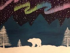 Northern lights polar bear painting by CrasianDesigns on Etsy