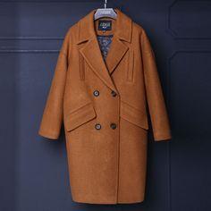 Women wool coat 2016 turn down collar long cocoon shape casual winter coat women camel wool coats Dark Aqua