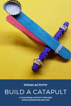Build a fun popsicle stick catapult! This is a great STEAM activity for your kids to do and they will have hours of fun with it. Free Activities For Kids, Steam Activities, Easy Crafts For Kids, Toddler Crafts, Catapult For Kids, Popsicle Stick Catapult, Popsicle Sticks, How To Start Homeschooling, Kids Board