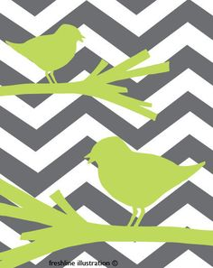 Chevron Art Home Decor - Lime Green Birds on Branches on Gray Chevron Pattern - 8x10. $18.95, via Etsy.