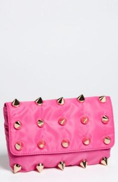 Today's Cute Carriers features a Neon Pink Studded Clutch! This clutch features two things that are very in this season: a bright neon pink, and lots of gold studs! You could always DIY this yourself too!