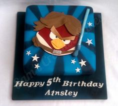 Airbrushed Star wars angry bird cake with galaxy looking cake board