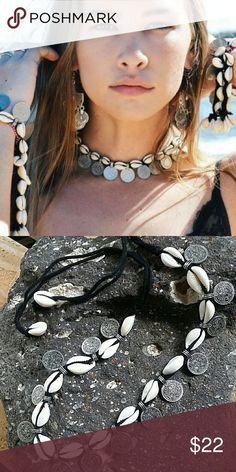 """24 HOUR SALETrendy Beach Choker Very cool vintage look coins and seashells makeup this hip boho choker. Ties on so it is a very flexible fit, total length 34"""". Bohemian, Hippie, Gypsy Boutique  Jewelry Necklaces"""