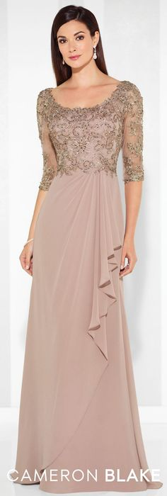 LOVE Prom Dresses Formal Evening Gowns by Mon Cheri - Spring 2017 - Style No. 117612 - chiffon evening dress with beaded lace illusion three-quarter length sleeves and bodice Best Evening Dresses, Chiffon Evening Dresses, Lace Gowns, Evening Gown With Sleeves, Formal Evening Gowns, Formal Gowns With Sleeves, Lace Dress With Sleeves, Chiffon Gown, Evening Party