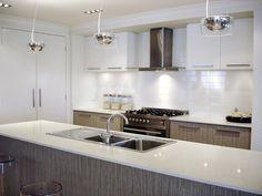 Parvatile Sail 4 x 16 Ceramic Tile in Glossy White Neutral Kitchen Designs, Modern Kitchen Design, Kitchen Flooring, Kitchen Backsplash, Stainless Backsplash, Kitchen Island, Shabby Chic Kitchen, Kitchen Decor, Kitchen Ideas