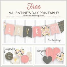 I try to do a little Valentine's Day breakfast with a few small gifts, and I've got to get busy with those plans soon. So I've started searching out free Valentine's printables, and today I'm featuring my favorite free Valentine's Day printable banners. Kinder Valentines, Valentine Banner, Valentines Gifts For Boyfriend, Valentine Day Love, Valentines Day Party, Valentine Day Crafts, Valentine Nails, Valentine Ideas, Funny Valentine