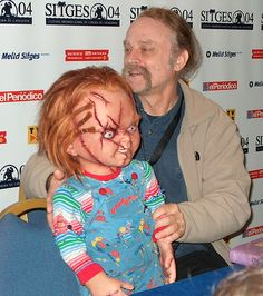 Chucky and Brad Dourif. Yeap, Billy Bibbit is the voice behind the sociopathic little doll.