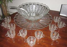EAPG 1900 George Duncans Son & Miller Glass Button Panel w/ Bars Punch Bowl Set