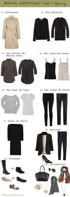 Capsule - two tees, two tanks, a blouse, a sweater or two, two pants, a skirt or dress, and a jacket.