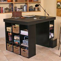 Venture Horizon Project Center Desk with 2 Bookcase Sides-Black Venture Horizon Project Center Craft Table with two bookcase pedestals (model provides a great workspace for all your family projects. Perfect for sewing, crafting,. Craft Storage Furniture, Craft Tables With Storage, Furniture Decor, Furniture Online, Fun Craft, Craft Desk, Craft Space, Diy Desk, Diy Sewing Table
