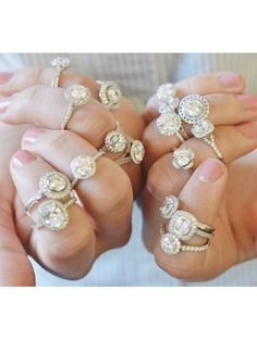 A collection of glamorous halo engagement rings.