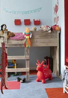 like the bins above the bed for each child's personal things. Pallet wood