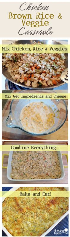 Chicken, Brown Rice, and Veggie Casserole - So delicious! Freezer meal instructions included.