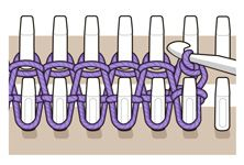 How to bind off of a loom. An illustrated step by step guide. Loom Knitting Stitches, Spool Knitting, Loom Knitting Projects, Double Knitting, Knifty Knitter, Circle Loom, Loom Love, Loom Crochet, Round Loom