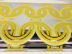 Vintage 1970's 4 Rolls Wallpaper Yellow Silver Foil
