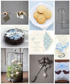 Lovebirds wedding theme in blue and brown