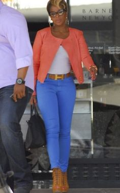Mary J. Blige steps out in a pair of Giuseppe Zanotti lace-up stilettos and a fierce colorblocked outfit