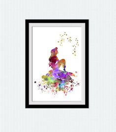 Little mermaid watercolor art print The Little por ColorfulPrint