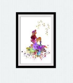 Little mermaid watercolor art print The Little por ColorfulPrint