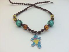 Squirtle Pokemon Anime Macrame Hemp Necklace by HemptressDesigns