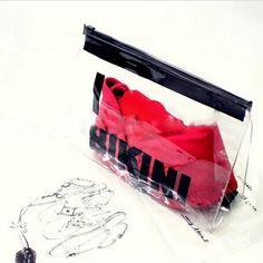 Transparent PVC Plastic zip lock bikini packaging wet bikini bag