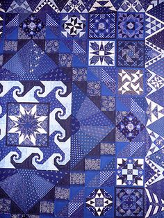 """close up, """"Bedcover for My Daughter"""" by Ferencne Somogyi.  Hungarian blue quilt exhibited at the Kékfestő Múzeum  2009.  Photo by Jana Lálová (Czech Republic)"""
