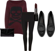 burgundy skull & crossbones sweater, black leggings, black flats with sequined skulls, and dark red Smashbox lipstick ~ a great look for Fall or Winter ∞