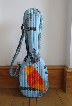 Bird print ukulele gig bag (soprano sized) in light blue by Ivy Arch  Via Etsy