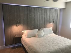 Grey wood backlight floating headboard