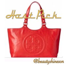 Tory Burch Red Bombe Tote Host Pick Red leather tote w/polished gold tone hardware. The front is accented w/  stacked double T logo medallion & top stitch detail. The fabric lined interior features a zipped compartment and 2 open slip pockets. It has a zipped top closure & 4 metal feet to help protect the bottom of the tote. It also has dual rolled handles.Tory Burch NWT logo❤️keychain NOT included but available for purchase  NWT & never used. Note receipt from Tory Burch in 2nd pic. 100%…