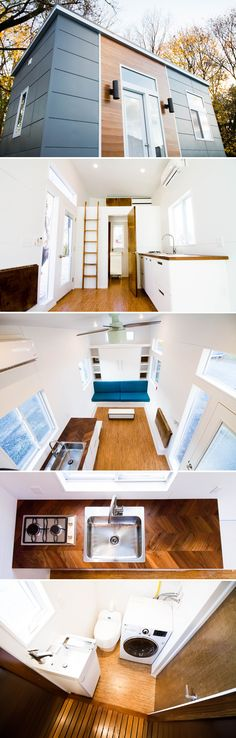 The grey and wood exterior of this 20' tiny house provides a clean, modern look. Inside is a bright, spacious floor plan with white walls and cork flooring.