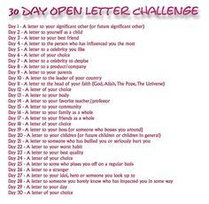 30 Day Open Letter Challenge - Cool idea for writing prompts