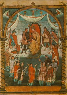 Le roi Charles le Chauve se fait présenter le livre par les moines de Saint-Martin de Tours. Bible de Vivien, Tours, 845, folio 423.