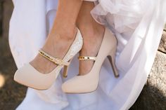 nude mary jane heels with gold clasp
