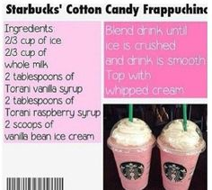 How to make a cotton candy frapp! This is at Starbucks only!!  Repinnplease!