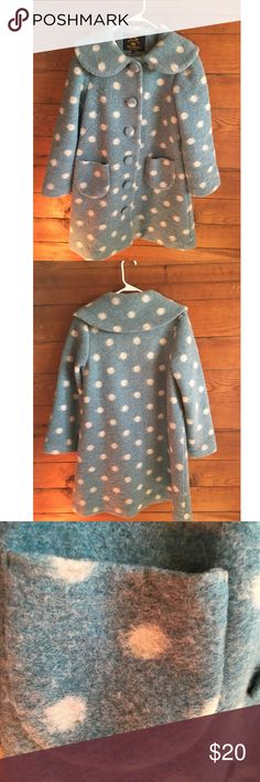 Original Hell Bunny Coat A dusty blue and white polka-dot felted wool swing coat. Can be worn with bicycle boots and distressed jeans to give a fun vintage feel on a cold day. Size small, but runs larger and would fit a medium comfortably. Jackets & Coats Pea Coats