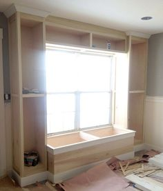 in bookcase and window seat. For the office? Built in bookcase and window seat. For the office? Built in bookcase and window seat. For the office? Window Benches, Window Seats, Window Seat Kitchen, Window Shelves, Kitchen Windows, Box Shelves, Room Window, Window Boxes, Storage Shelves